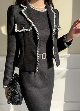 Luxurious Short Tweed Jacket, Styleonme