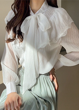Sheer Romantic Ruffle Blouse, Styleonme