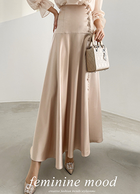 Side Button Up Maxi Satin Skirt, Styleonme