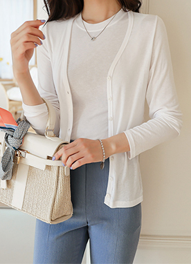 Simple Light Jersey Cardigan, Styleonme