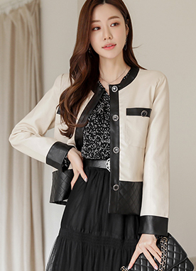Faux Leather Contrast Jacket, Styleonme