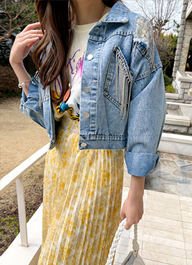 Dorothy Chain Cropped Denim Jacket, Styleonme