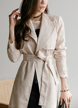 Spring Lace Trench Coat, Styleonme