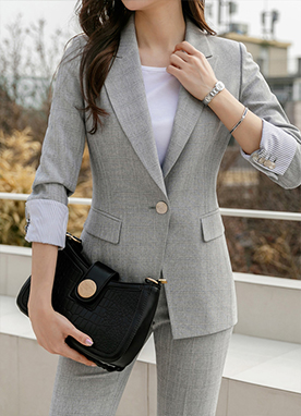 Light Gray Check One Button Blazer , Styleonme