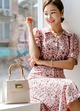 Cherry Blossom Floral Print Dress, Styleonme
