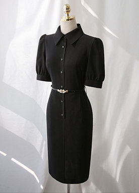Belted Black Shirt Dress, Styleonme