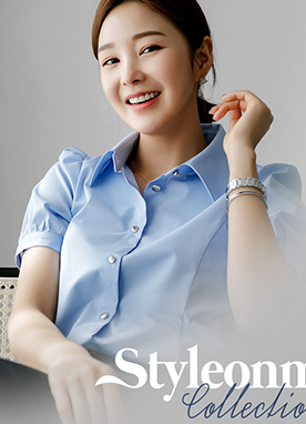 Essential Simple Puff Shoulder Short Sleeves Shirt, Styleonme
