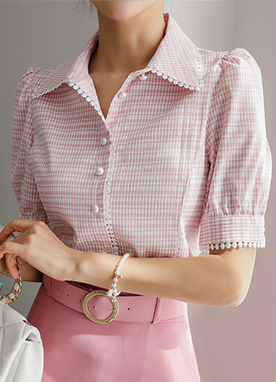 Soft Gingham Check Pattern Short Sleeves Shirt, Styleonme
