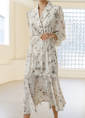 Retro Chiffon Floral Pattern Maxi Dress, Styleonme