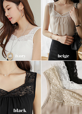 Lace Heart Sleeveless Top, Styleonme
