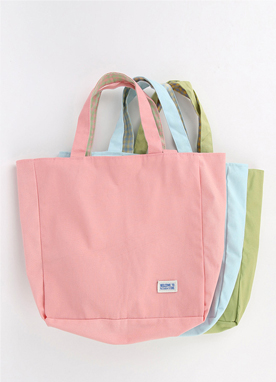 3 Color Check Lined Cotton Tote Bag, Styleonme