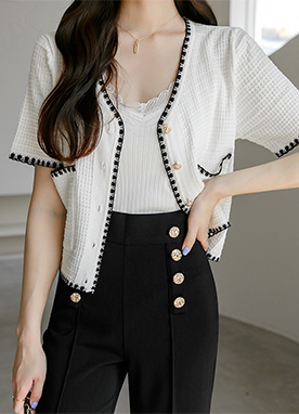 Contrast Short Sleeves Pocket Cardigan, Styleonme