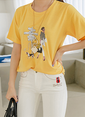 Directions Yellow Graphic Print T-shirt, Styleonme