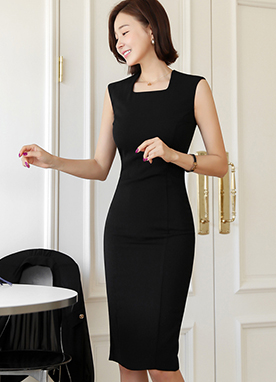 Square Neck Tight Pencil Midi Dress, Styleonme