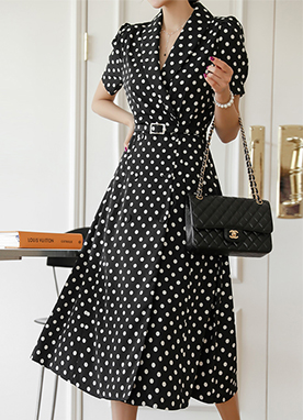 Belted Polka Dot Maxi Dress, Styleonme