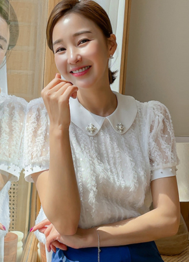 Peter Pan Jewel Collar Short Sleeves Lace Blouse, Styleonme
