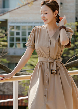 Belted Short Sleeves Flare Trench Coat Dress, Styleonme