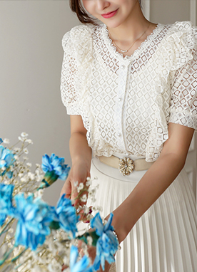 Diamond Shaped lace Frill Blouse, Styleonme