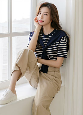 Picnic Half Sleeves Stripe Knit Top, Styleonme