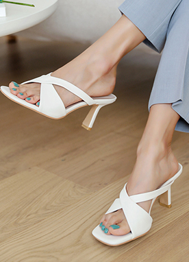 X-Strap Heeled Mules, Styleonme