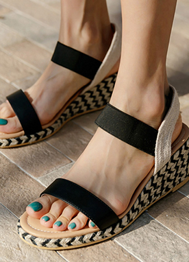 Double Strap Beach Platform Sandals, Styleonme