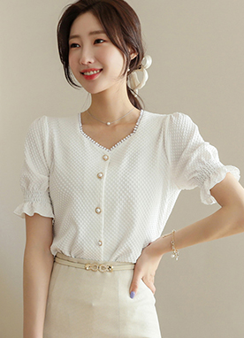 Lovely Jacquard Pearl Button Blouse, Styleonme