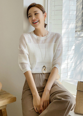Summer Mesh Knit Top, Styleonme