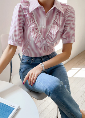Ruffle Front Stripe Short Sleeves Shirt, Styleonme