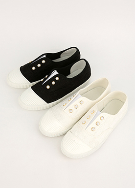 Pearl Button Slip on Sneakers, Styleonme