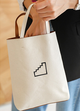 Simple Staircase Cotton Tote Bag, Styleonme