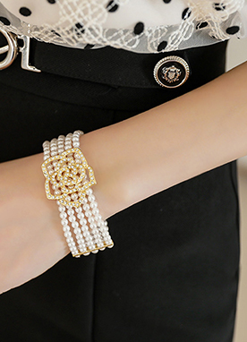 Rose Cubic Layered Pearl Bracelet, Styleonme