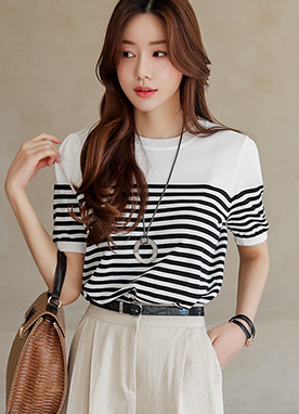 Smart Round Neck Stripe Knit Top, Styleonme