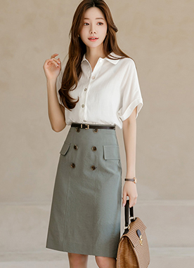 Chic Trench Design Midi Pencil Skirt, Styleonme