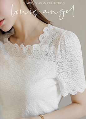 Scallop Square Neck Lace Short Sleeves Blouse, Styleonme