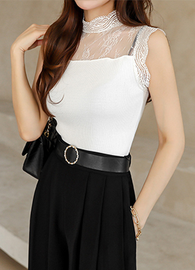Lace Mock Neck Ribbed Sleeveless Knit Top, Styleonme