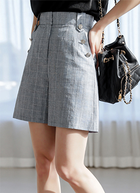 High Waist Military Button Check Shorts, Styleonme