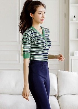 Colorful Stripe Mix Half Sleeve Ribbed Knit Top, Styleonme