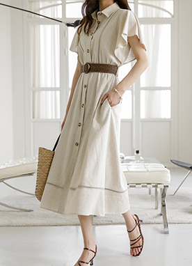 Rattan Belt Button Up Shirt Dress, Styleonme