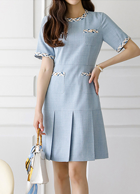 Elegant Lady Tweed Trim Pleats Dress, Styleonme