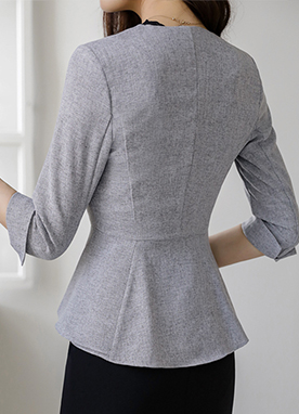 3/4 Sleeve Slim fit Collarless Peplum Blazer, Styleonme
