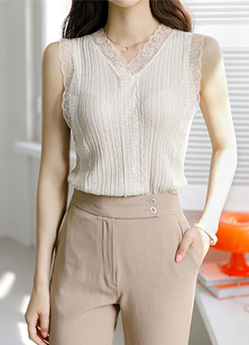 Delicate Lace Trim Ribbed Sleeveless Knit Top, Styleonme
