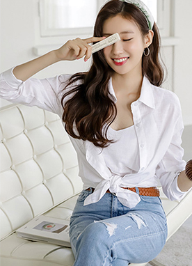 Basic Linen Shirt and Cami Set, Styleonme