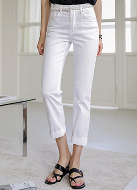 High Rise Cotton Cropped Pants, Styleonme
