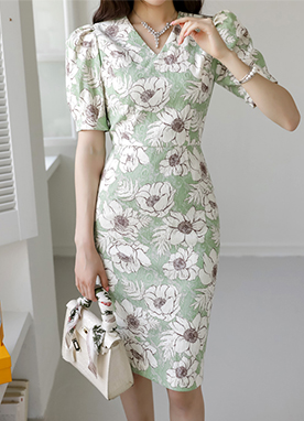 Huge Floral Print Slim fit Dress, Styleonme