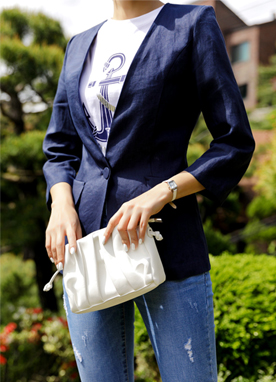 Collarless Contemporary Linen Blazer, Styleonme