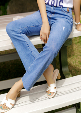 Mid Rise Unbalanced Jeans, Styleonme
