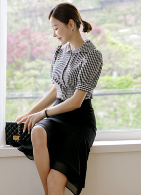 Scallop Collar Gingham Check Classic Shirt, Styleonme