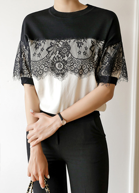 Contrast Laced Knit Top , Styleonme
