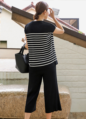 Comfy Summer Stripe Knit Top and Pants Set, Styleonme