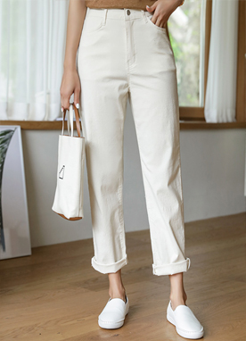 High Rise Cotton Pants, Styleonme